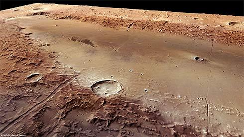 Cratera Orcus Patera em perspectiva, Marte