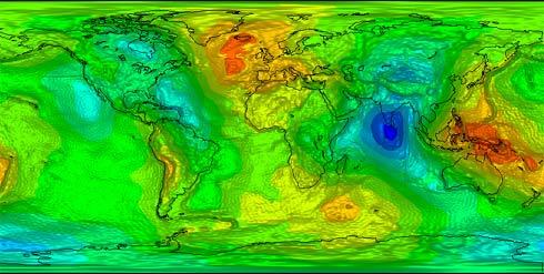 Mapa de gravidade feito pelo Satélite Goce