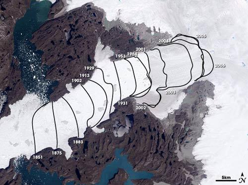 derretimento do gelo na groenlândia ao longo dos anos