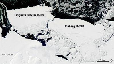 Glaciar e Iceberg B-0B