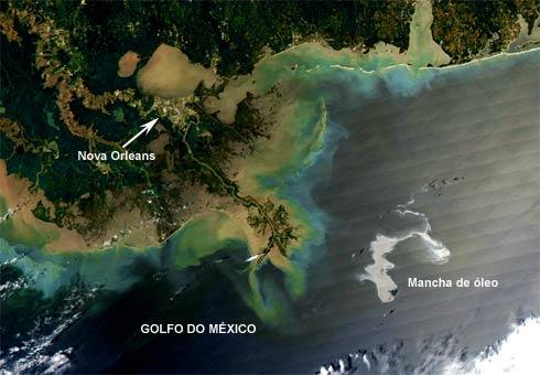 Imagem de satélite da mancha de óleo no Golfo do México