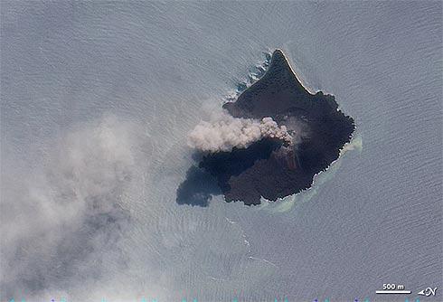 Vulcão Kracatoa registrado pelo satélite EO-1, da Nasa