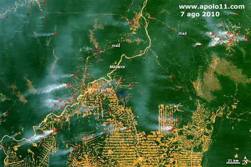 Imagem de satélite das queimadas no Brasil