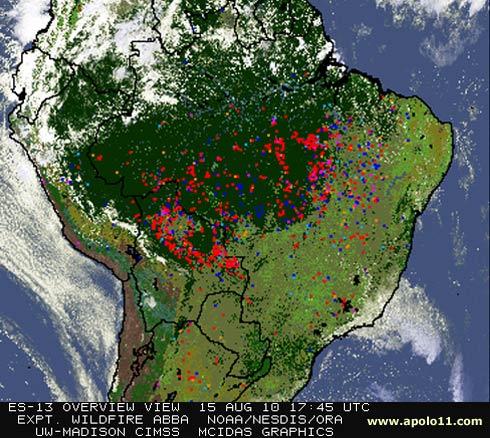 Imagem de satélite de queimadas no Brasil