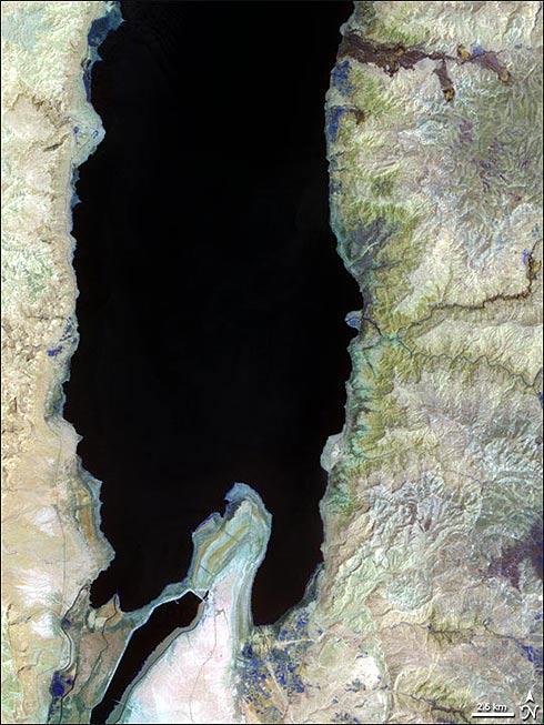 Imagem de satélite do Mar morto