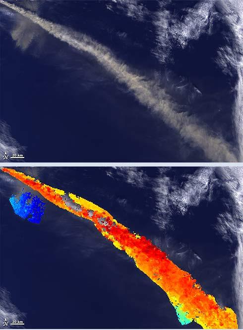 Imagem de satélite vulcão na Islândia