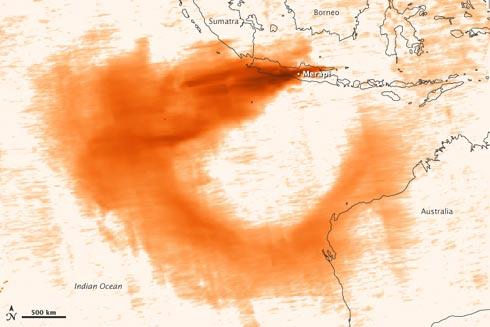 ATIVIDADE SOLAR, TERREMOTOS, VULCÕES, ETC Vulcao_merapi_mapa_dioxido_sulfurico