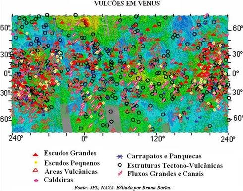 Mapa dos vulcões de Vênus