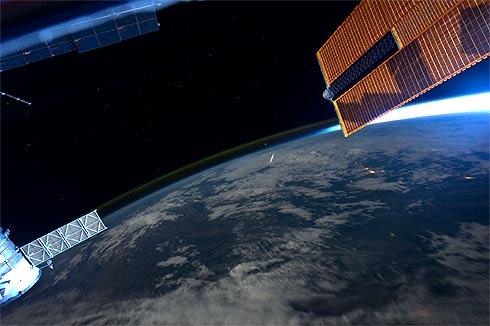 Chuva de meteoros Perseidea vista da ISS