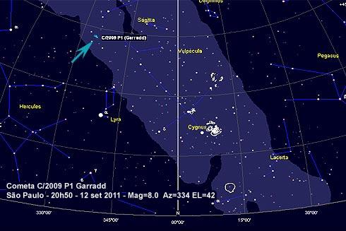 Carta celeste Cometa C/2009 P1 Garradd