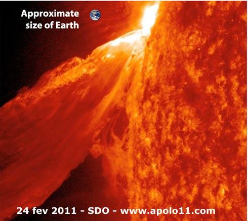 explosão solar em 24 de fevereiro de 2011