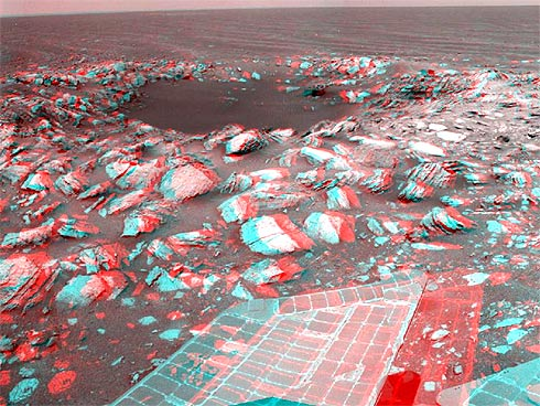 Cratera Skylab fotografada pela sonda Opportunity