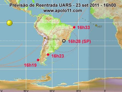 Previsão de reentrada satélite UARS