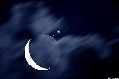 Conjunção Lua e Júpiter e Luas galileanas