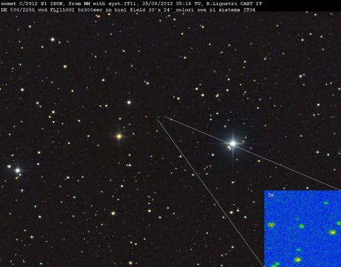 Tamanho do cometa C/2012 S1 ISON na constelacao de Cancer