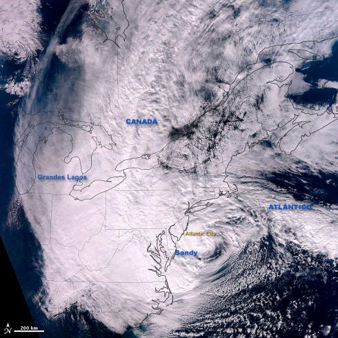 Imagem de Satelite Furacao Sandy