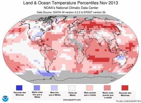 Anomalia de Global para Temperatura novembro de 2013