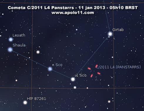 Carta celeste posicao do cometa Panstarrs_