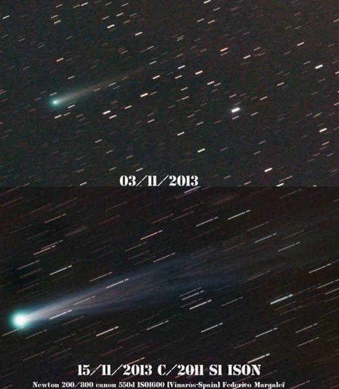 Comparação do brilho do Cometa ISON em Outburst