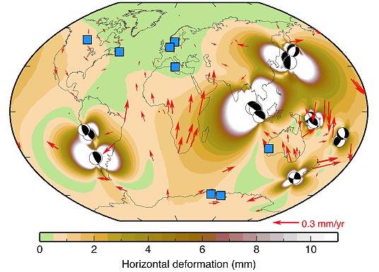 Deformação na crosta terrestre causada por terremotos