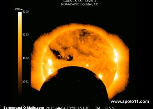 Eclipse solar visto do espaço