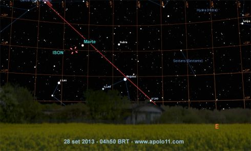 Carta Celeste do Cometa C/2012 S1 ISON
