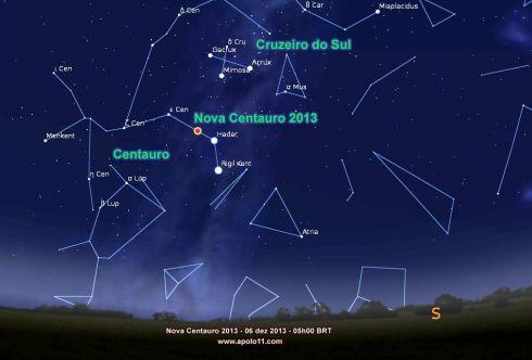 Onde achar Nova Centauri 2013 - Carta Celeste