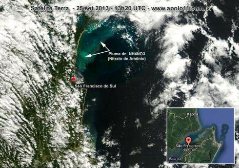 Imagem de satélite de explosão em fabrica em Santa Catarina