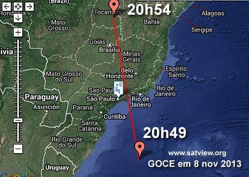 Passagem da sonda GOCE sobre o Sudeste do Brasil