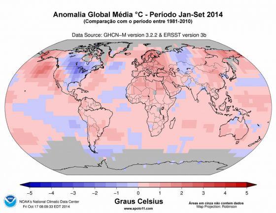 Temperatura em 2014