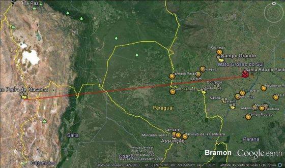 Orbita do Falcon 9 que caiu em mato Grosso do Sul