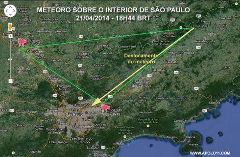Meteoro em São Paulo - trajetóriaa
