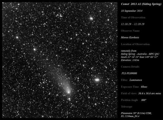 Foto do cometa C/2013 A1 Siding Spring