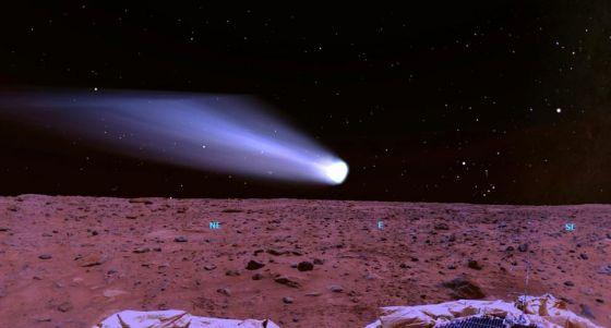 Cometa Siding Spring nascendo em Marte