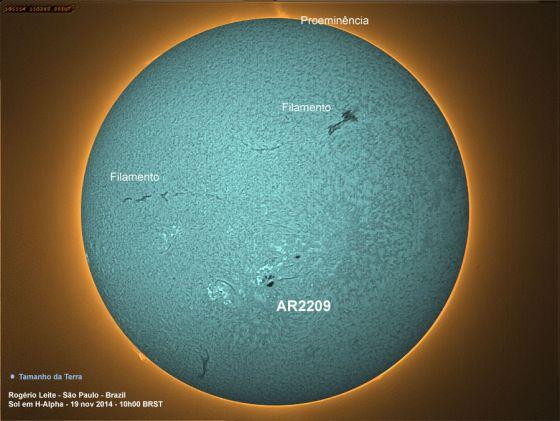 Mancha Solar AR2209 em H-alpha