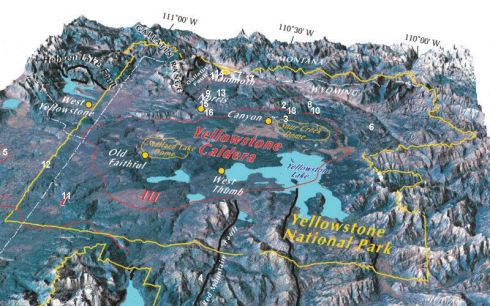 Mapa da caldeira do vulcão Yellowstone