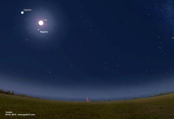 Carta Celeste - Conjuncao Lua e Jupiter