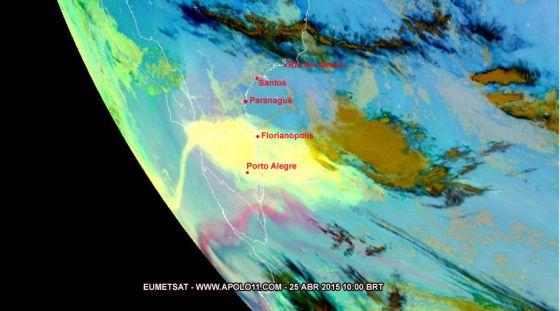 Cinzas do vulcão Calbuco chegam ao Paraná e avançam em direção ao Sudeste