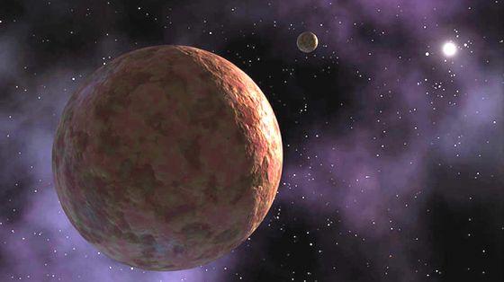 Concepcao artistica mostra o planeta anao Sedna, que ate a descoberta de V774104 era um dos objetos mais distantes do Sistema Solar.