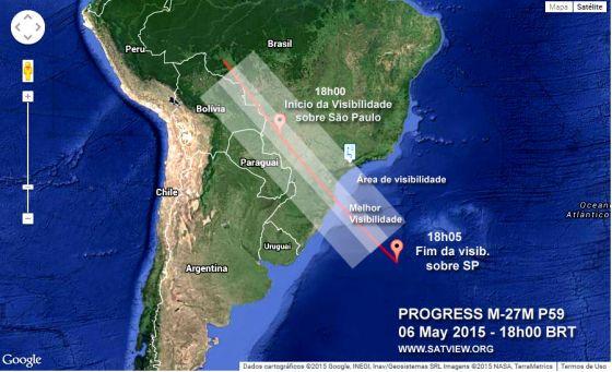 Cargueiro espacial Progress sobre o Brasil