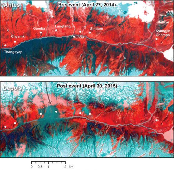 Imagem de satelite do terremoto no Nepal