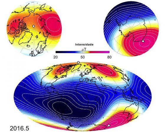 Campo magnetico da Terra em maio de 2016