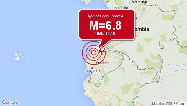 Forte terremoto atinge Equador, a 28 km de Muisne