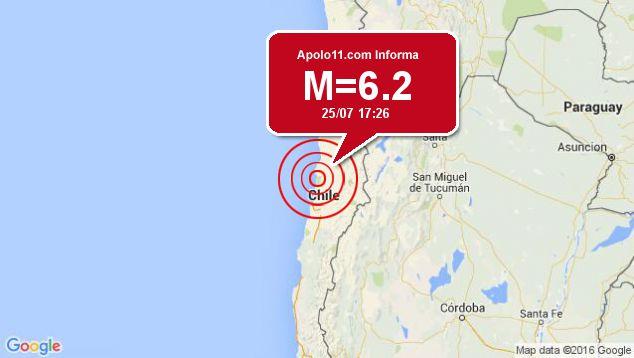 Forte terremoto sacode Chile, a 66 km de Diego de Almagro