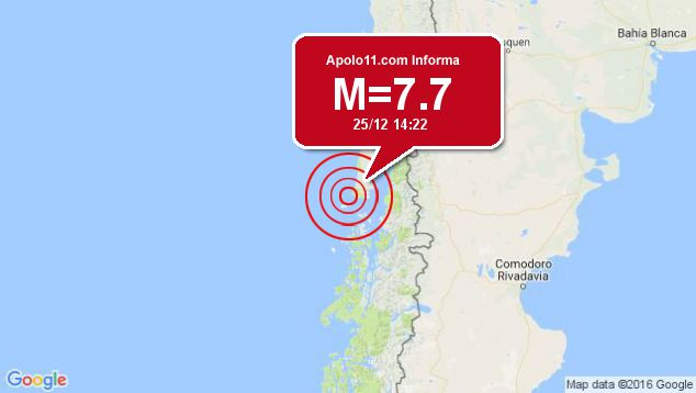 Forte terremoto sacode Chile, a 77 km de Puerto Quellon