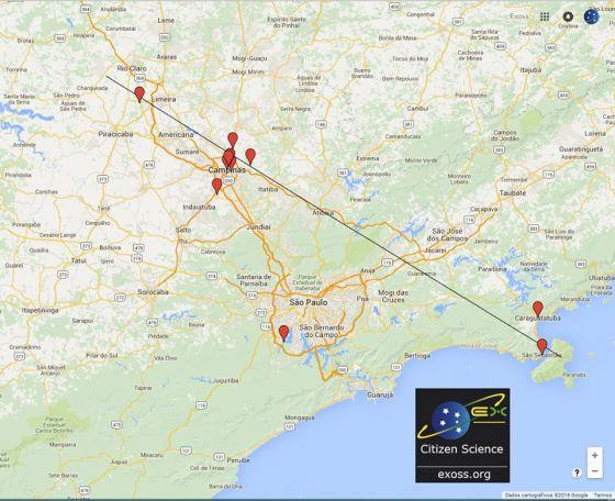 Mapa indica o onde o estrondo foi ouvido. Credito: Exoss Citizen Science