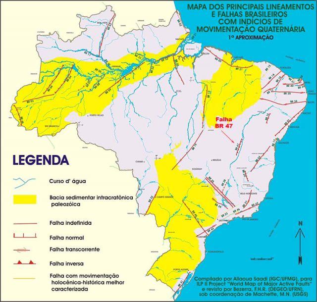 Mapa de Falhas tectonicas