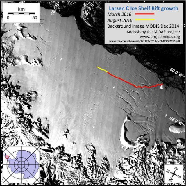 Imagem de satelite mostra plataforma de gelo Larsen C, na Antartida