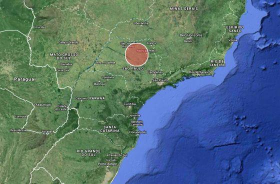 Supervulcao em Sao Paulo - Mapa