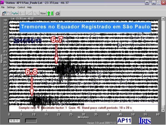 Simograma de terremoto no Equador